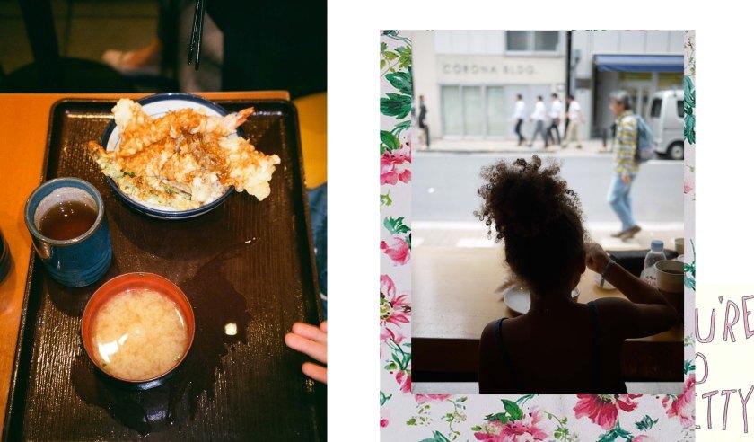 Composition visuelle de nourritures et d'une petite fille de dos