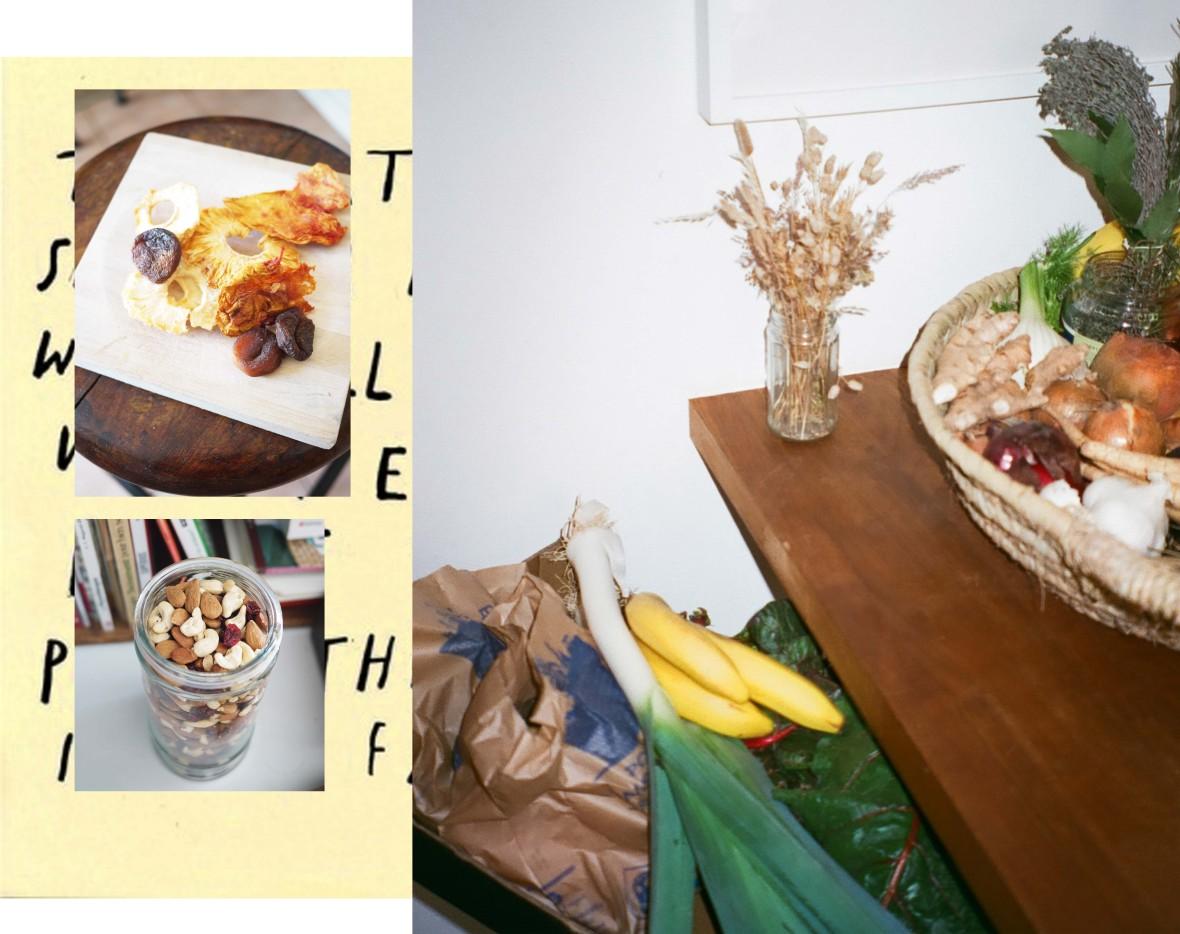 fruits et légumes de saison, ananas et abricots séchés , fruits secs
