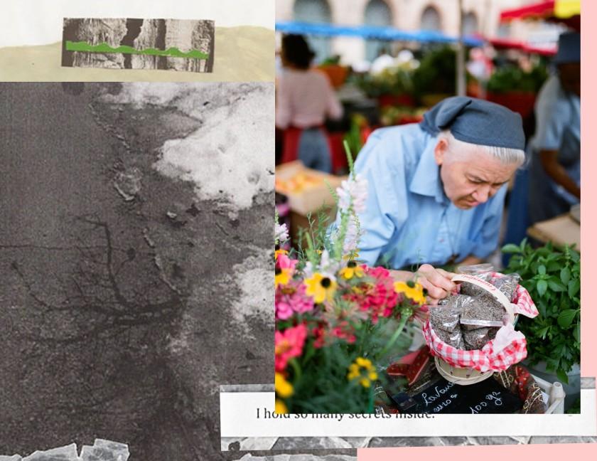 Une sœur installant son étal de fruits et légumes issus du jardin de sa communauté