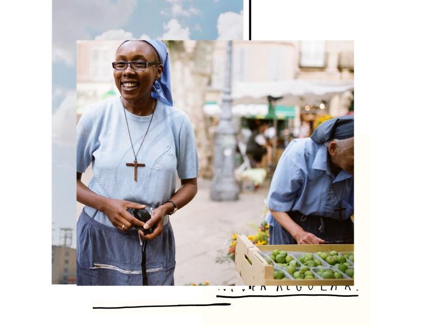 Collage photo des petites sœurs de Jésus sur leur stand de fruits et légumes