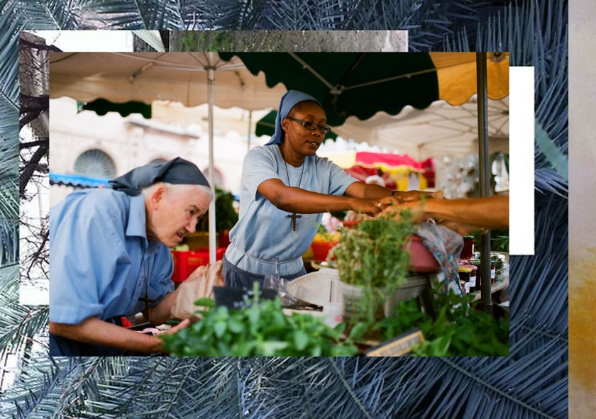 Collage illustrant un moment de travail des petites sœurs de Jésus