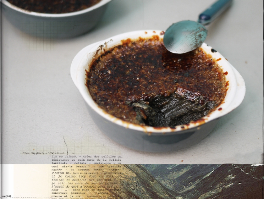 Dessert crème brûlée à la pâte de sésame noire