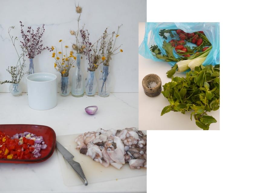 Produits frais et bruts pour la prépartion d'un plat méditerranéen