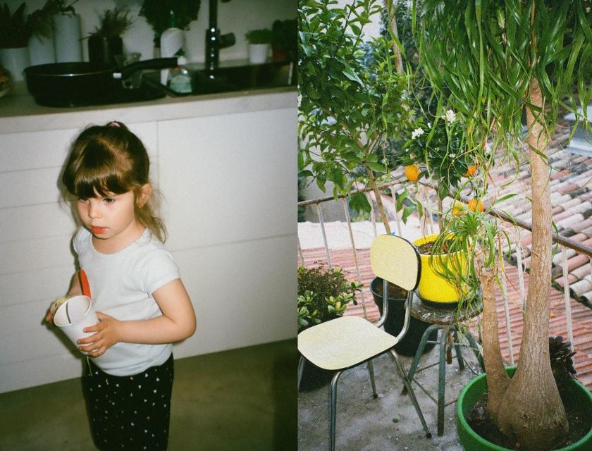 Deus photos, une petite fille et une vue d'une terrasse à AIx