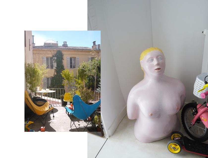 collage photo, terrasse ensoleillée et hall d'entrée