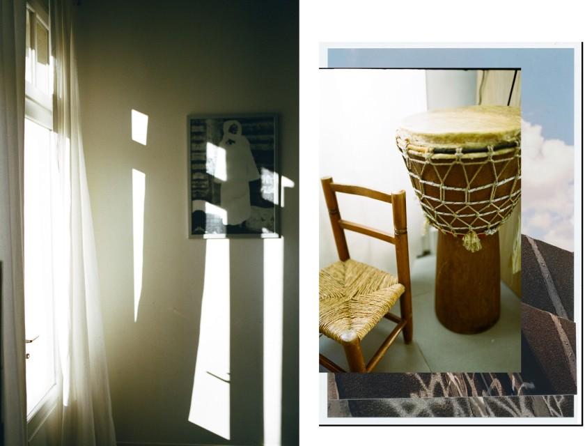Dans le salon de la jeune femme, photo et percussion