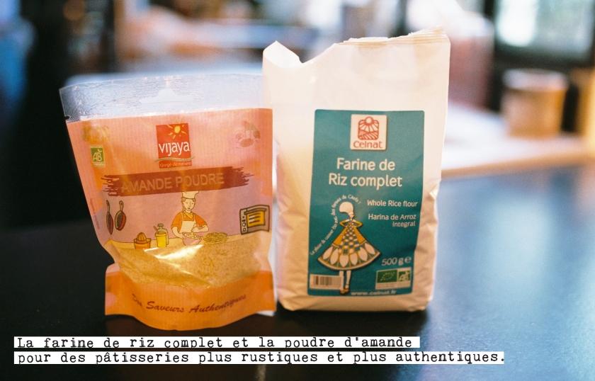 la farine de riz complet et la poudre d'amande pour des pâtisseries plus authentiques