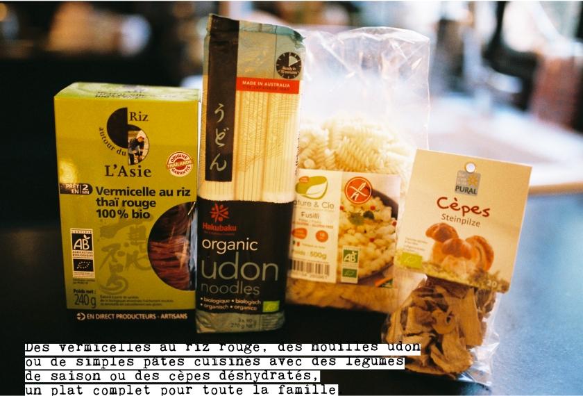 Pâtes de blé bio, nouilles Udon, vermicelles au riz thaï, cèpes, pour des plats simples mais gourmands