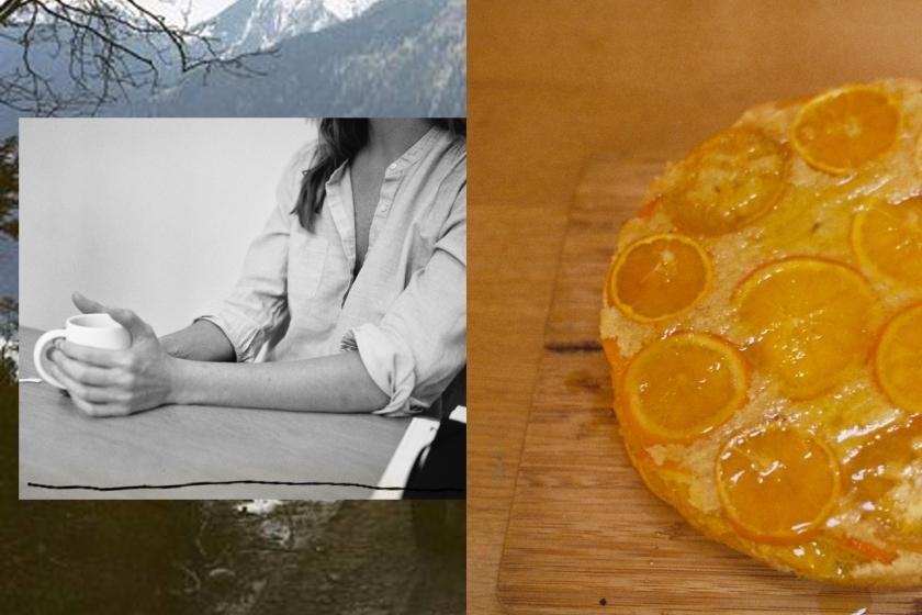 Diptyque :ortrait de Victoire et vue partielle du gâteau