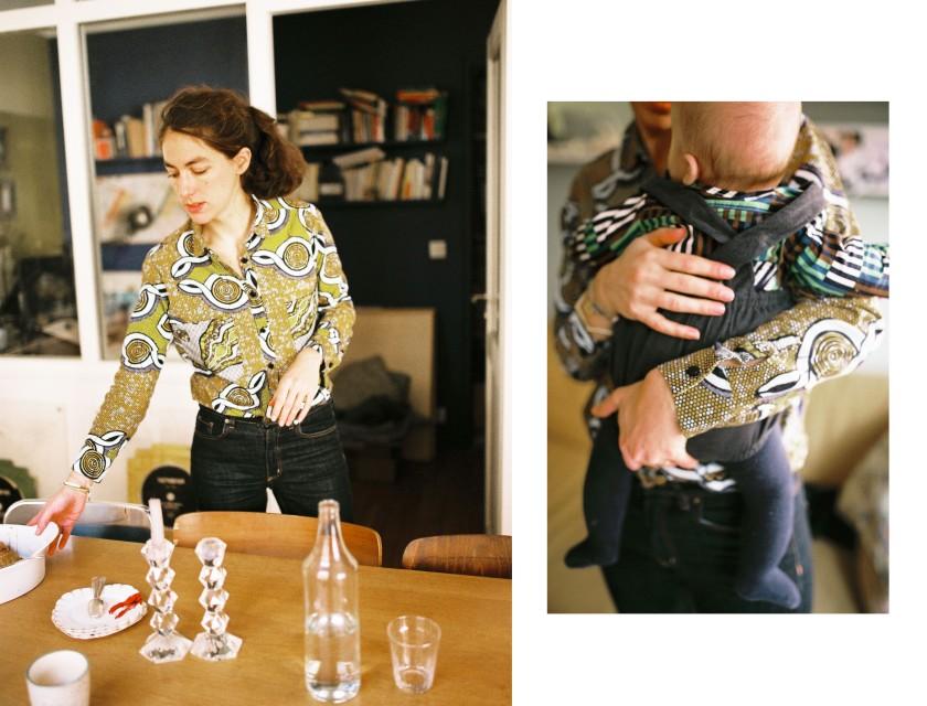 La jeune maman en chemise wax home-made et son bébé