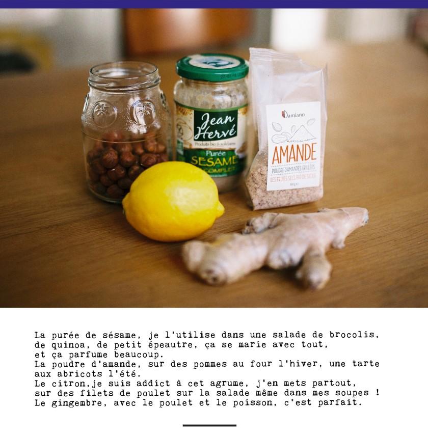 Les indispensables du placard de Clarisse / Purée Sesame bio Jean Hervé / Poudre d'amande bio Damiano